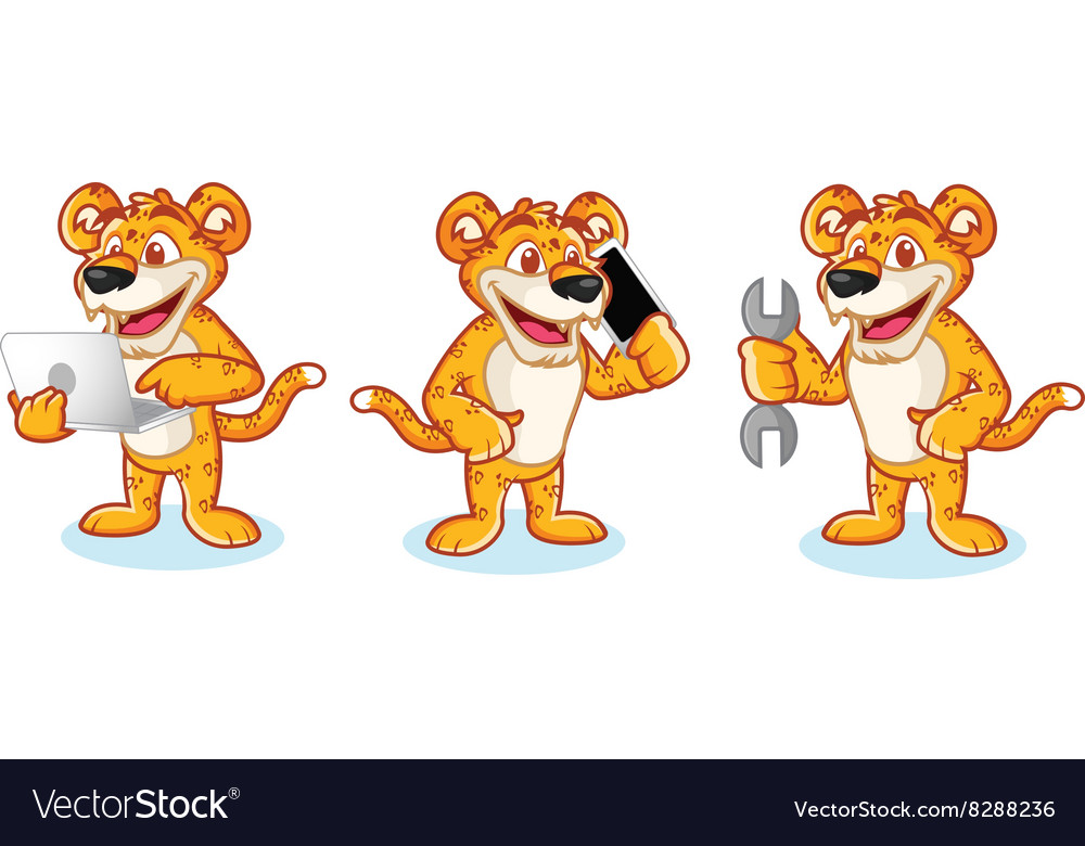 Leaopard Mascot with phone vector image
