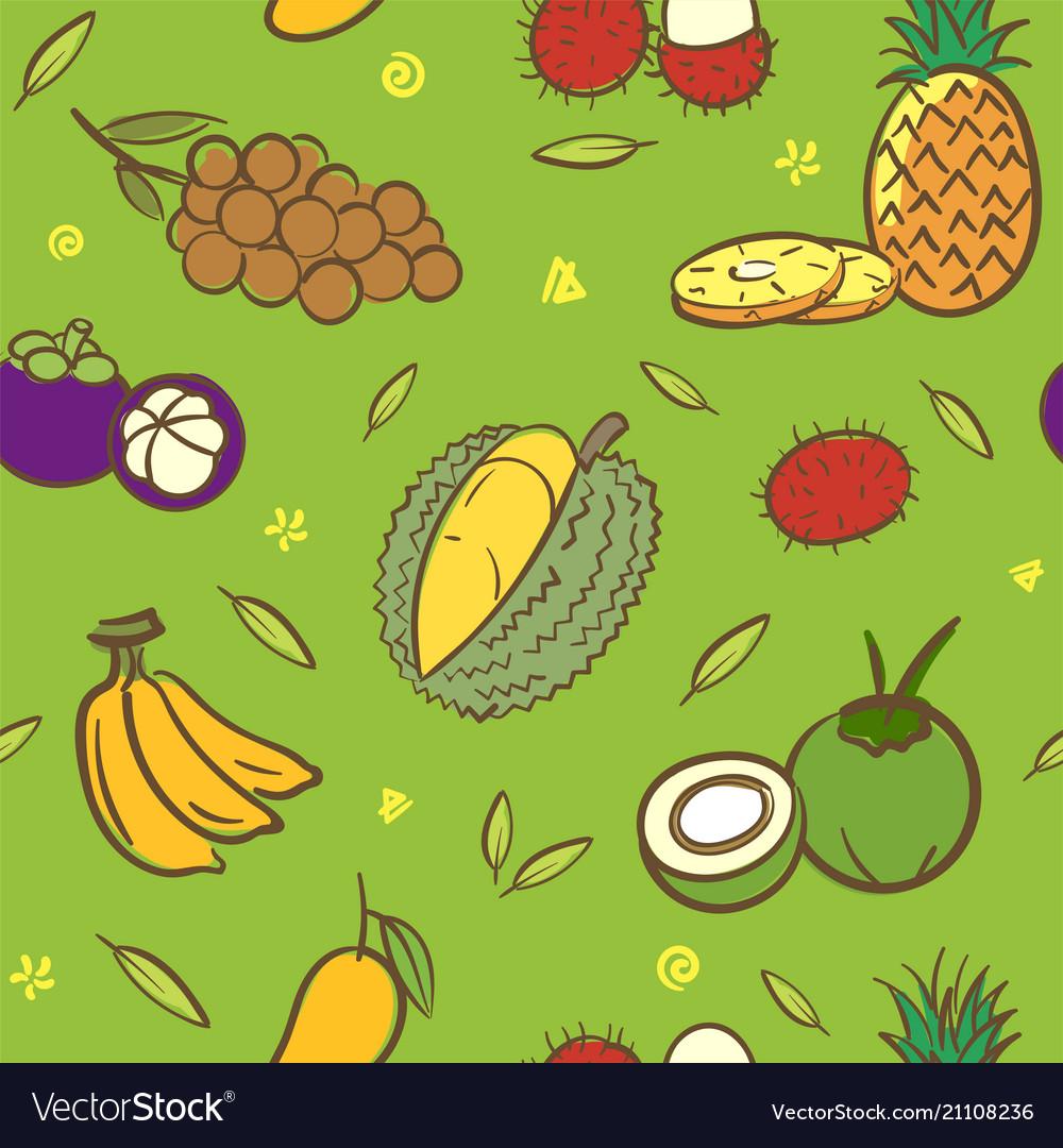Mix tropical thai fruits seamless pattern