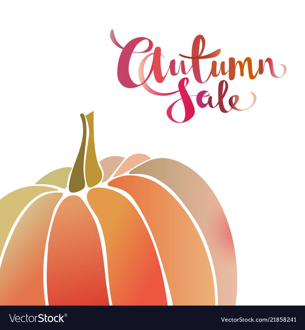 Autumn sale promo banner with pumpkin