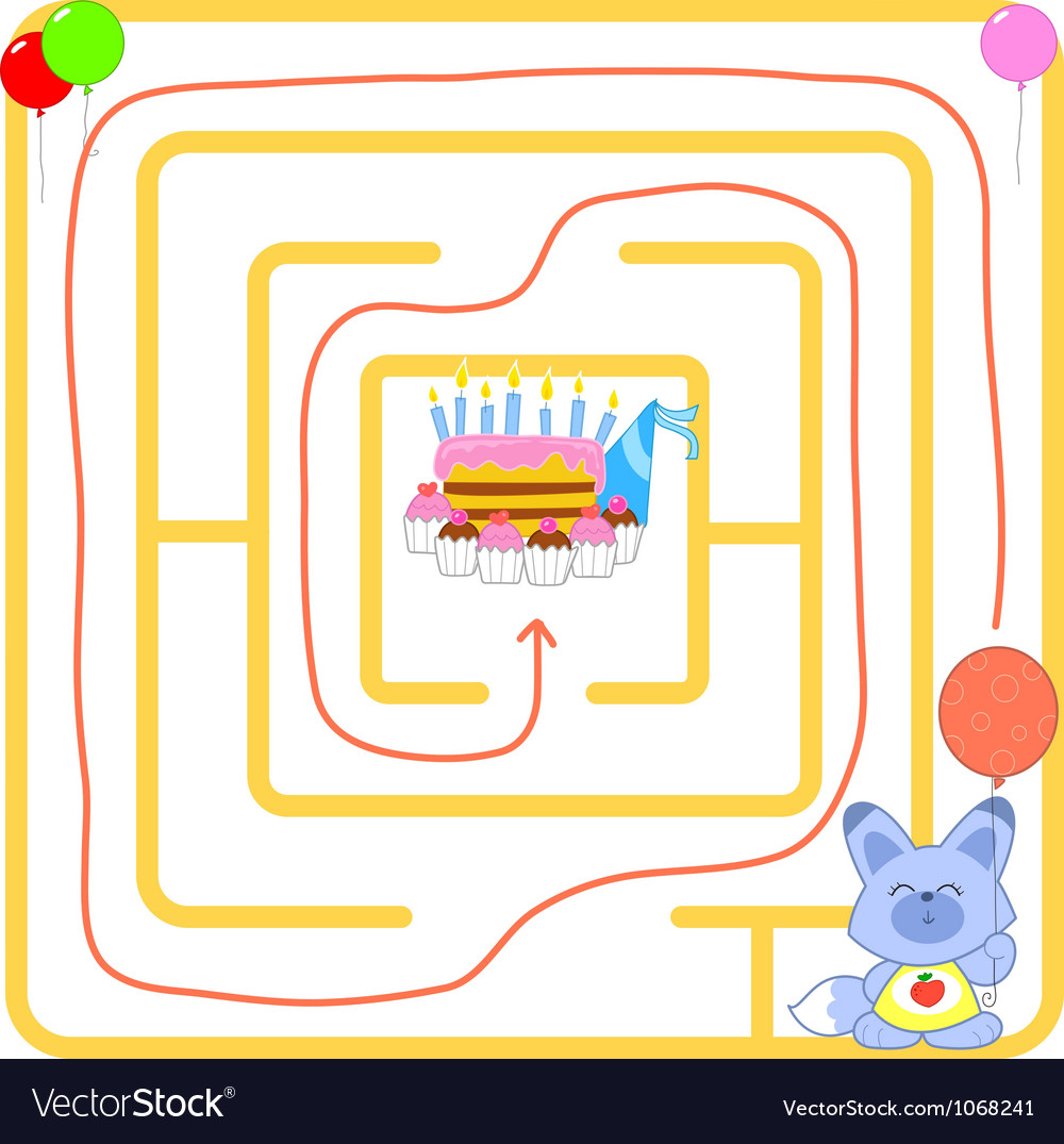 Birthday party maze vector image