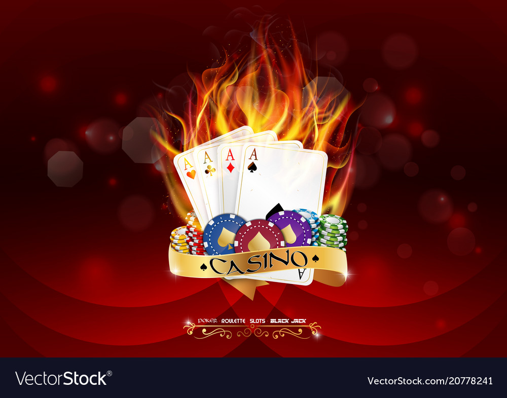 Casino poker banner with chips and poker cards