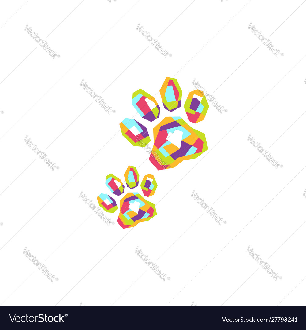 Colorful pets footprint logo