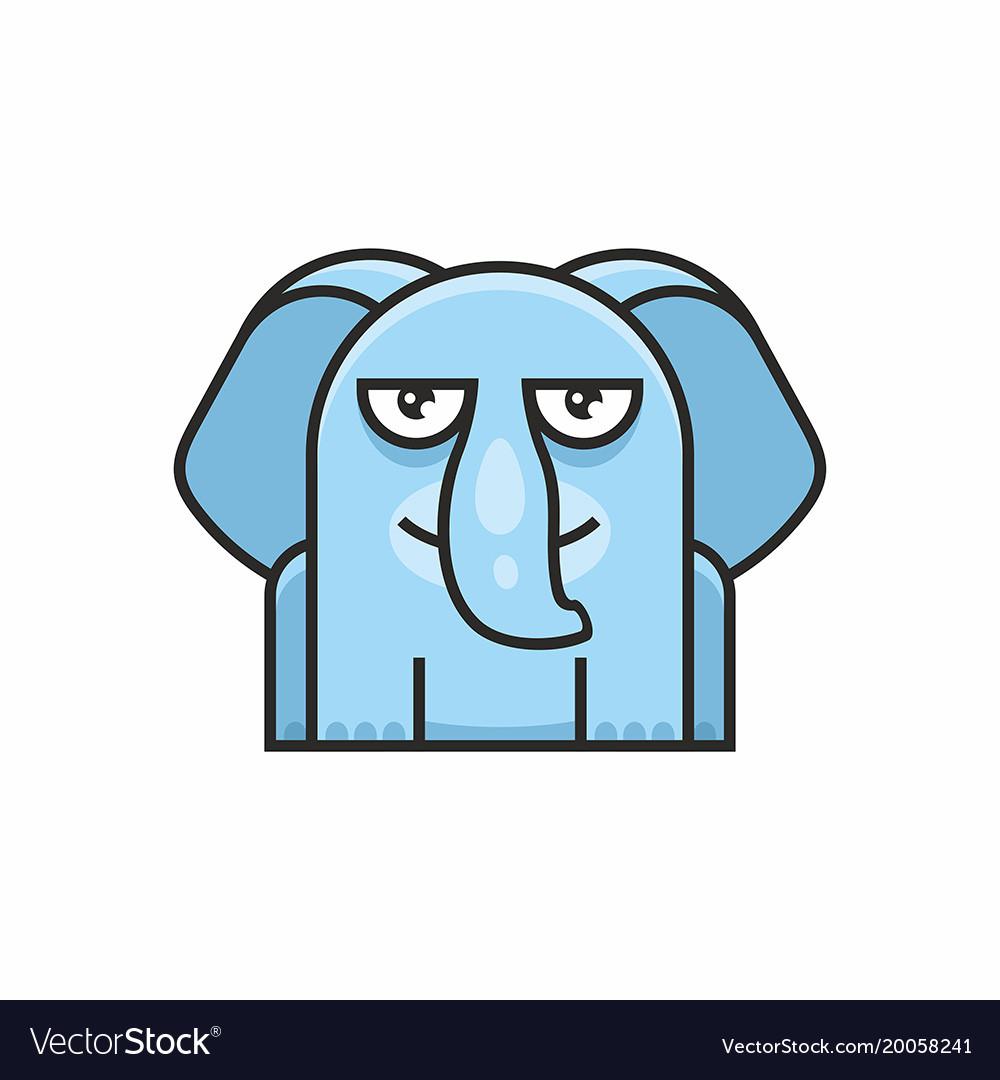 Cute elephant icon on white background