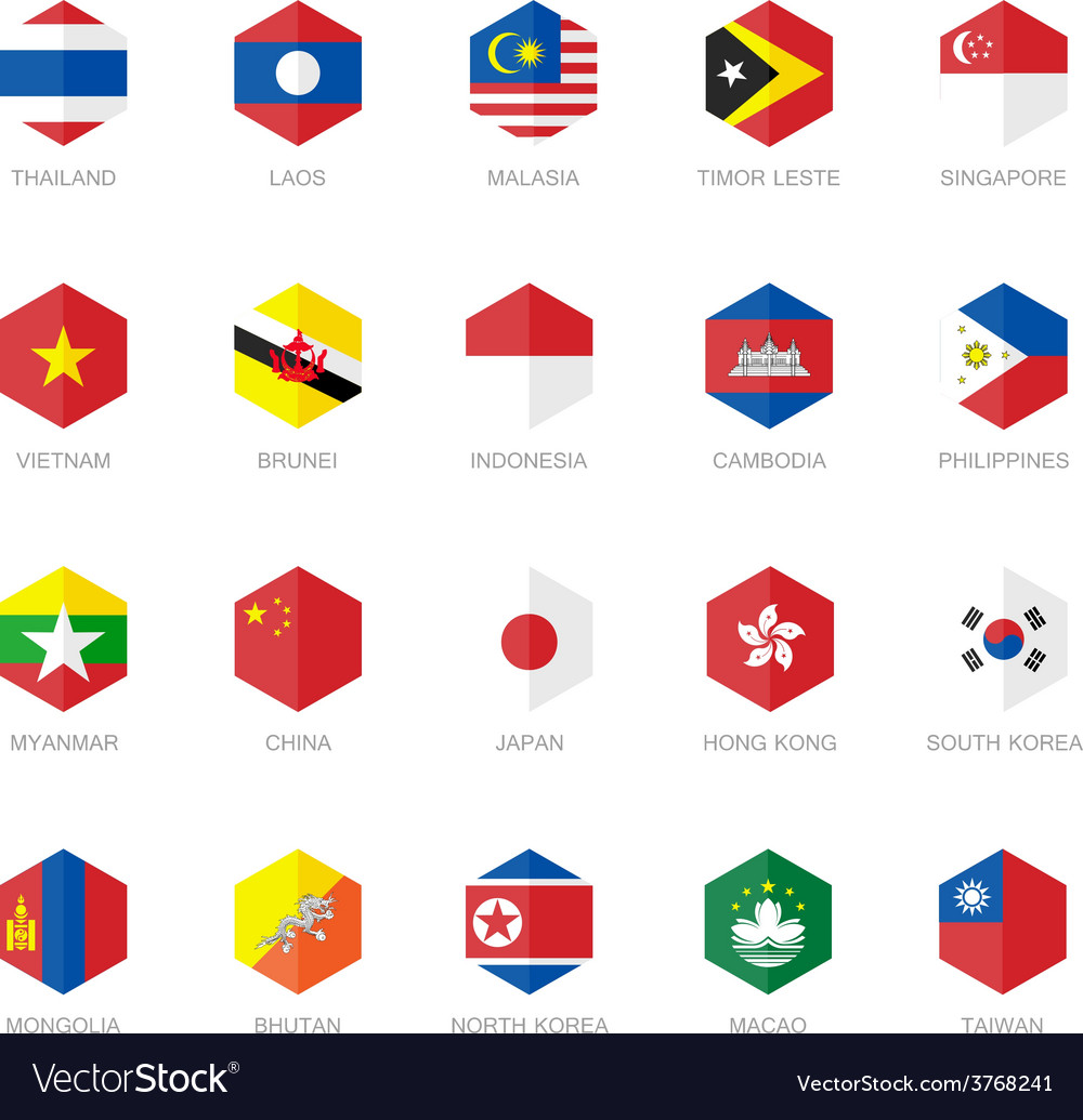 East Asia and South East Asia Flag Icons Hexagon vector image