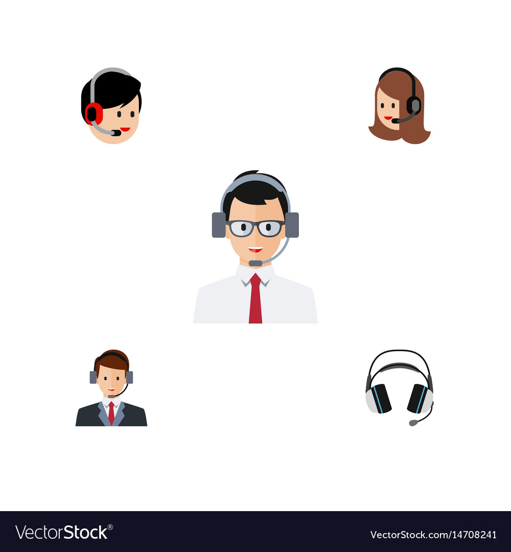 Flat center set of help earphone operator and vector image