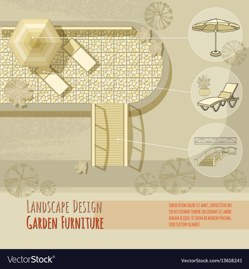Garden design lounge chairs bridge umbrella