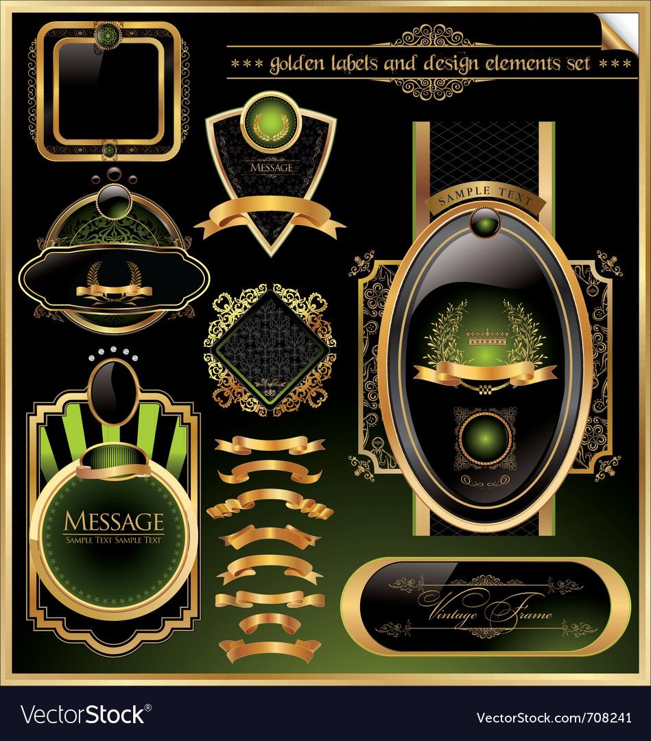 Golden labels and design elements set