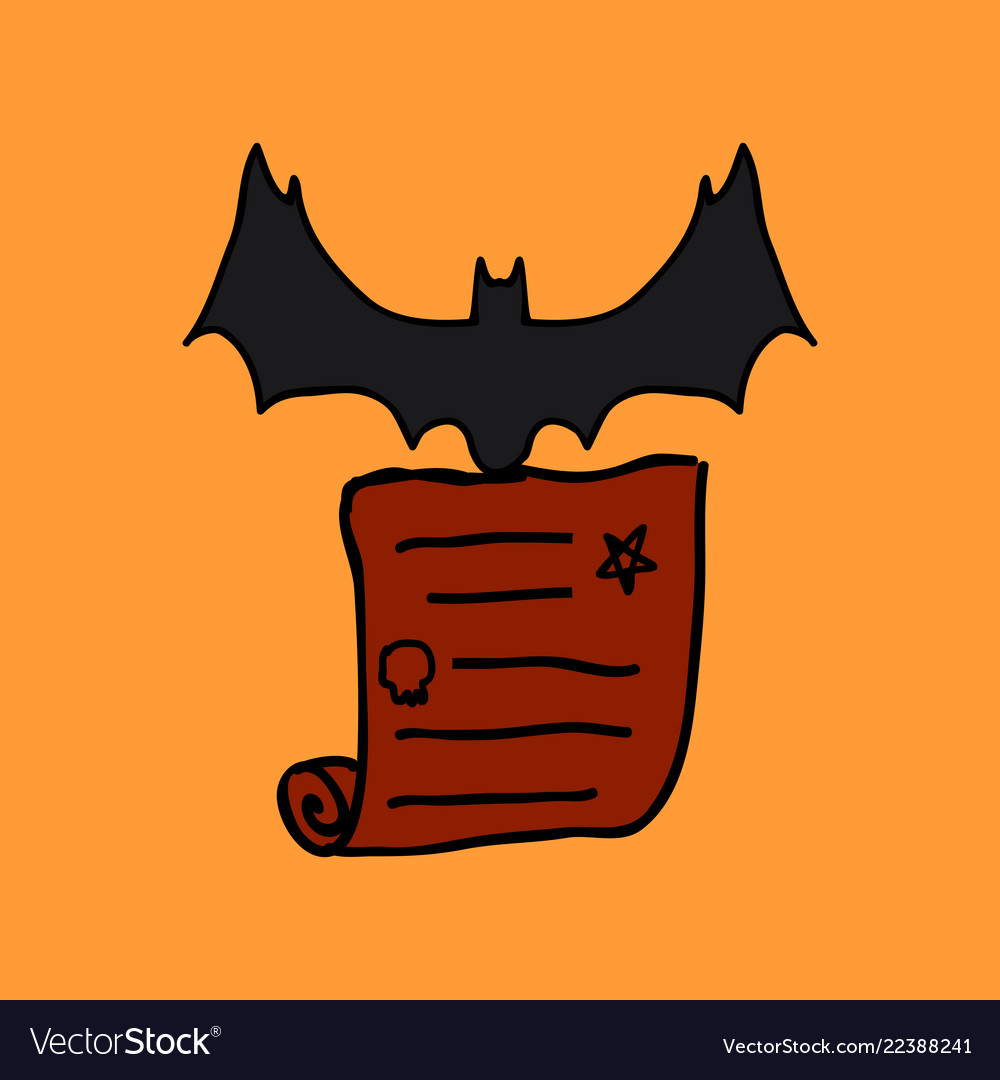 Halloween scene cute bat flying poster or card