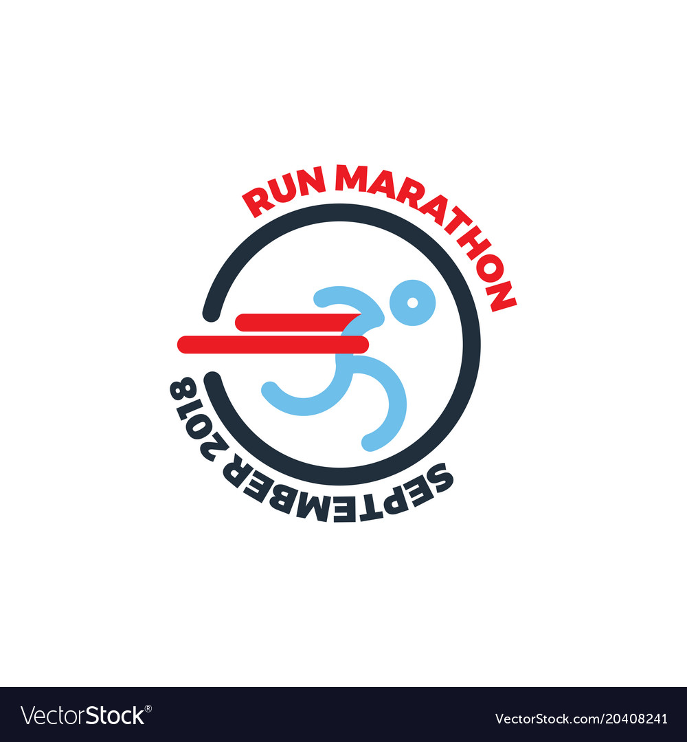 Logo for running marathon silhouette runner at