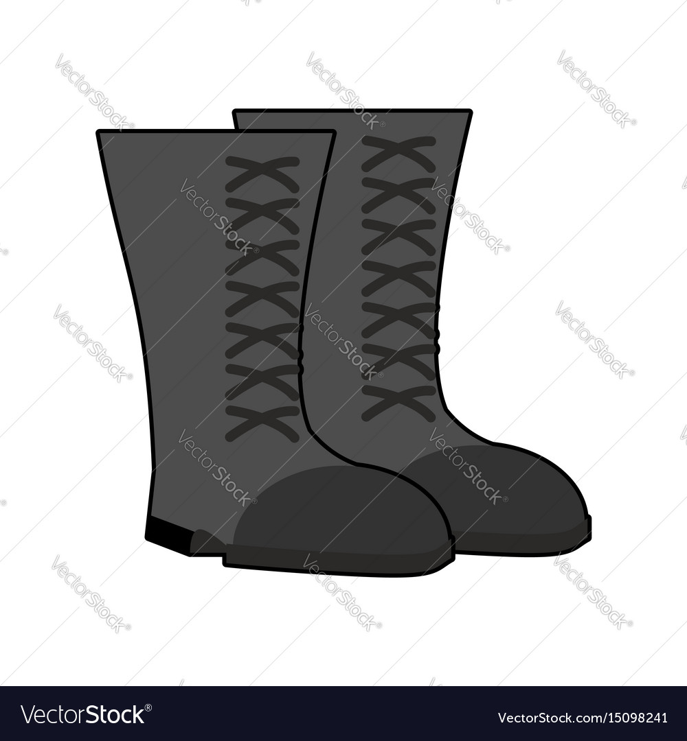 Military boots black isolated army shoes on white