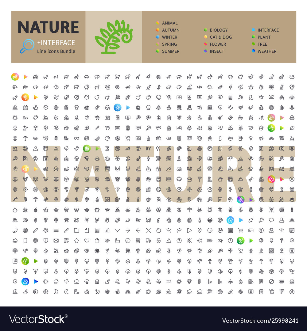 Nature thematic collection line icons