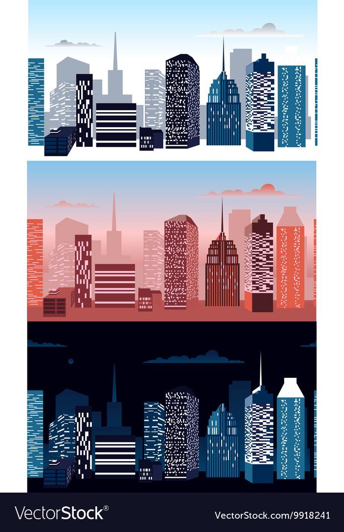 Set of city landscapes