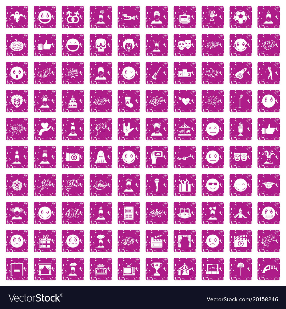 100 emotion icons set grunge pink