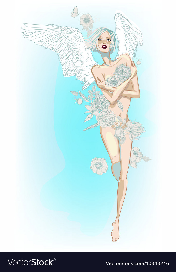 Angel girl with white wings and flowers