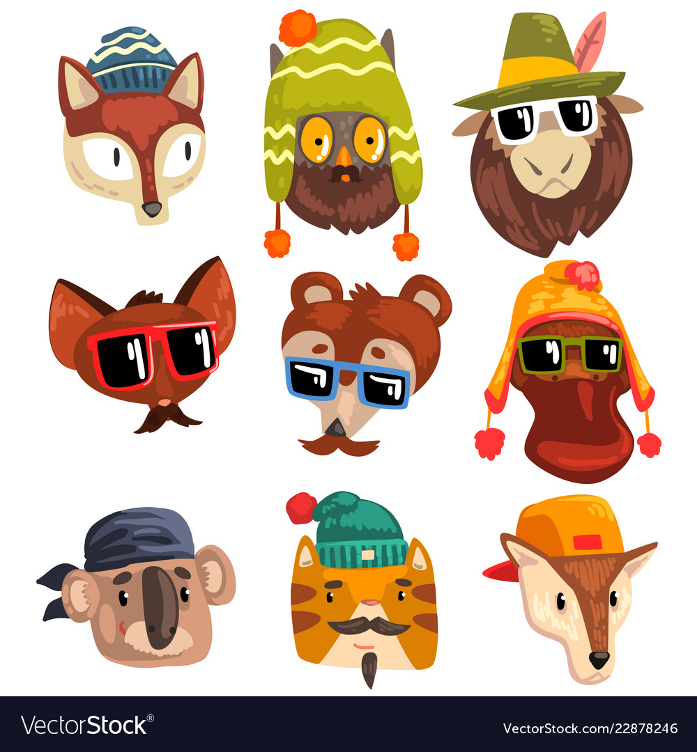 Animals wearing hipster hats and sunglasses