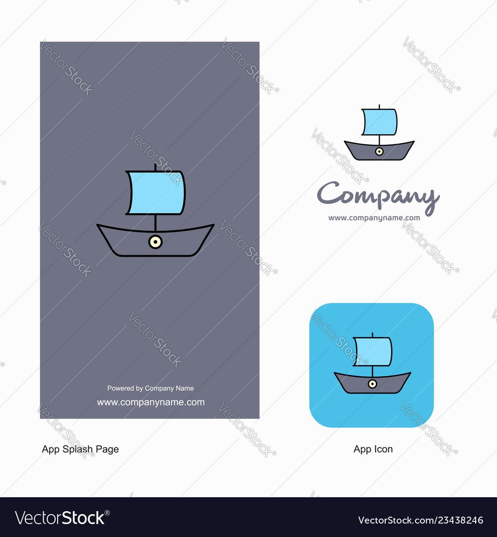 Boat company logo app icon and splash page design