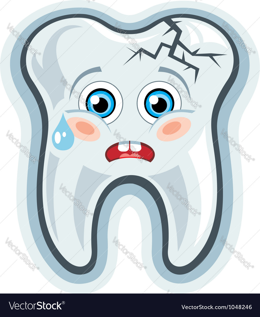 Cartoon tooth toothache vector image