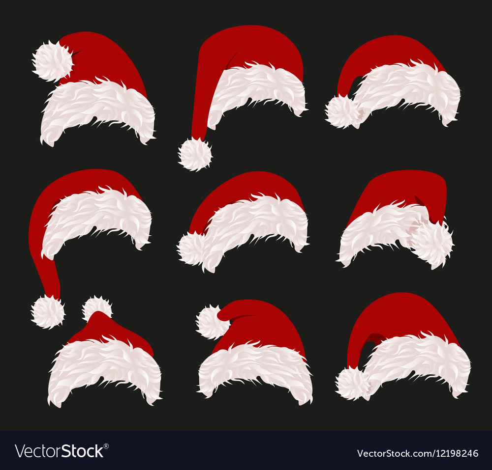 Collection of red santa hats