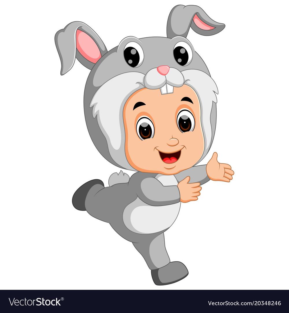 Cute kids cartoon wearing bunny costume