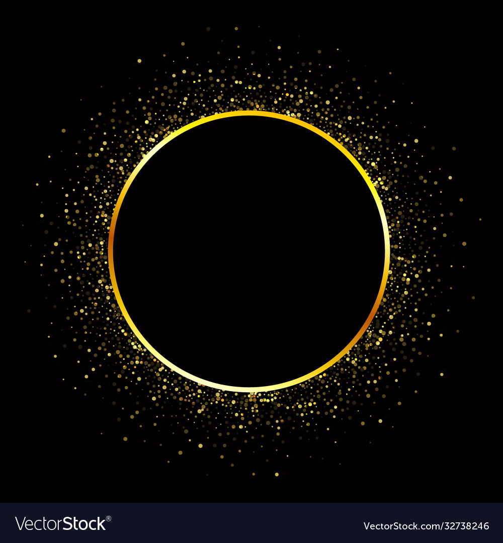 Golden circle frame glittering design element