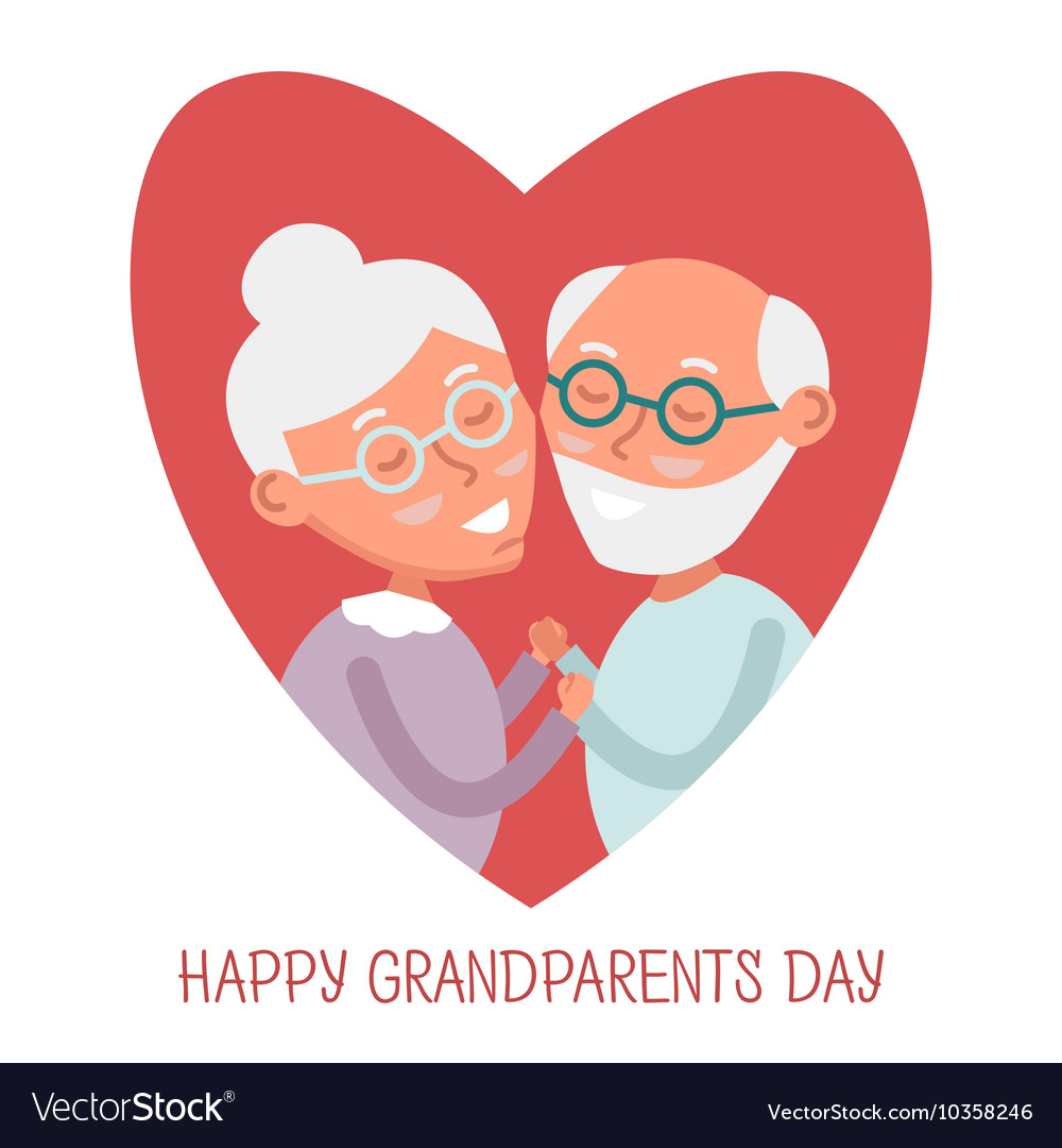 Happy old couple together Cute Seniors couple in vector image