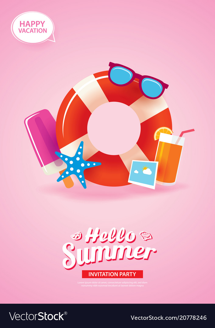 Hello summer card banner with life ring