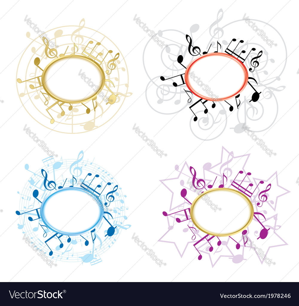 Music oval frames with notes - set Royalty Free Vector Image