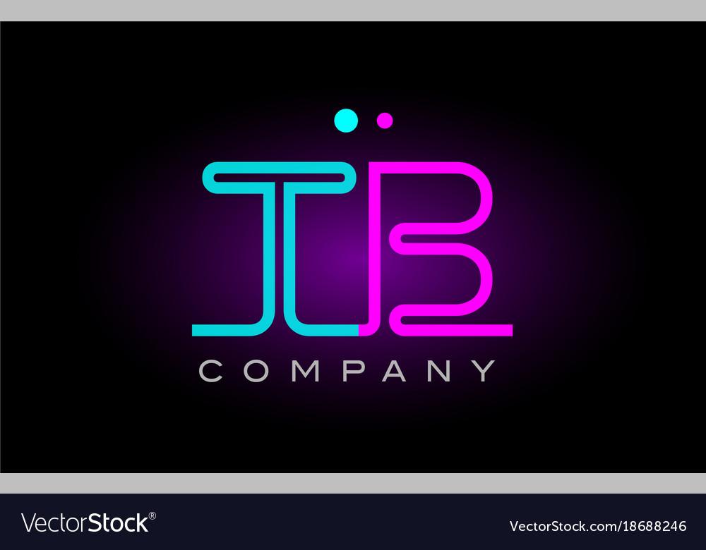 Neon lights alphabet tb t b letter logo icon