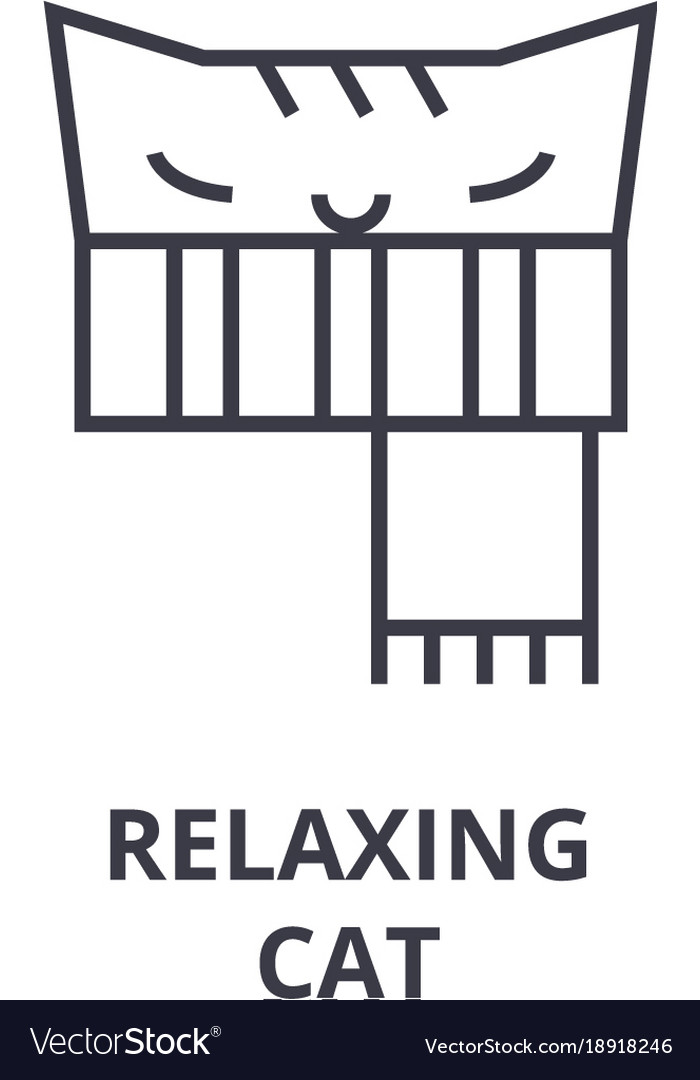 Relaxing cat line icon outline sign linear