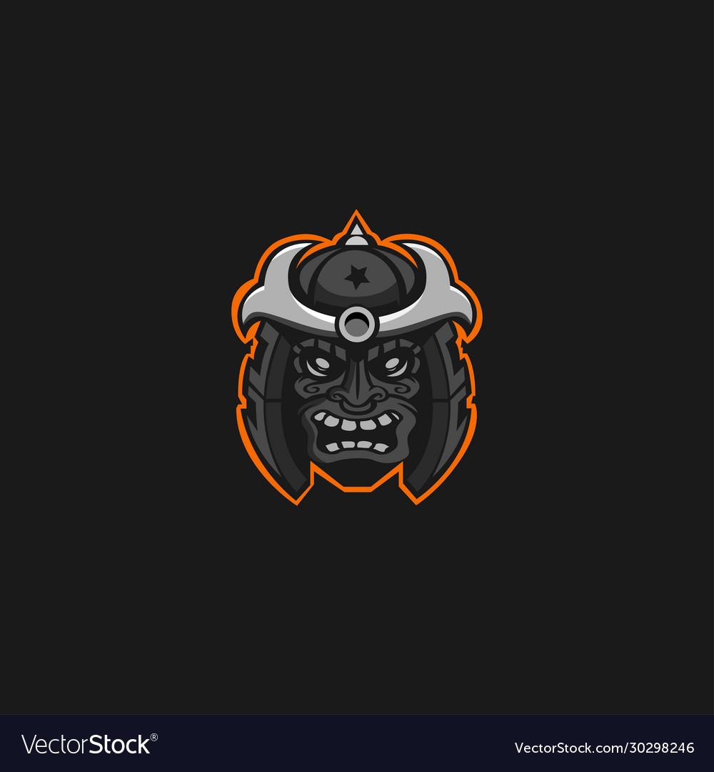 Samurai skull mascot logo
