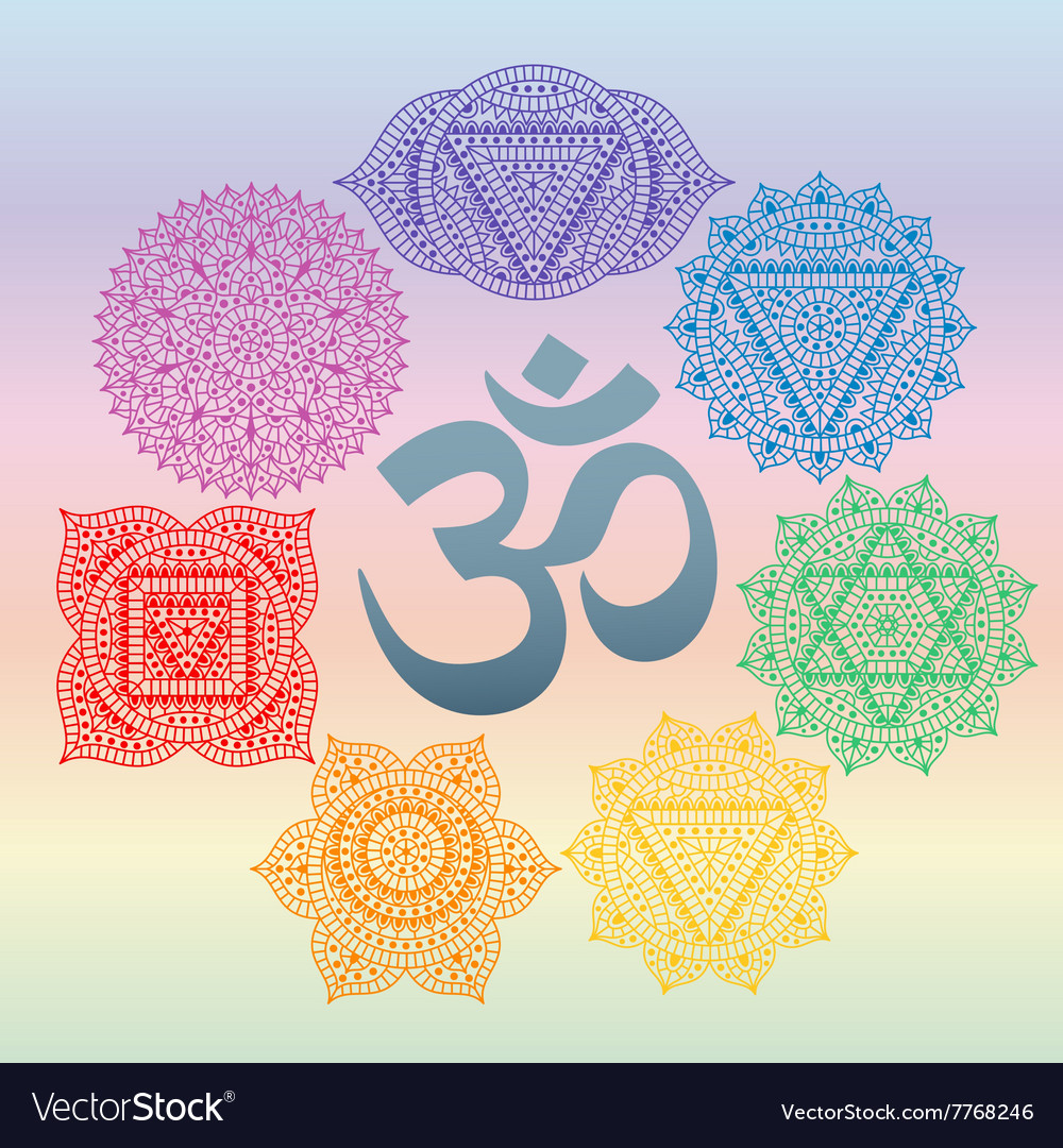 Set of seven chakras and symbol OM in the centre vector image