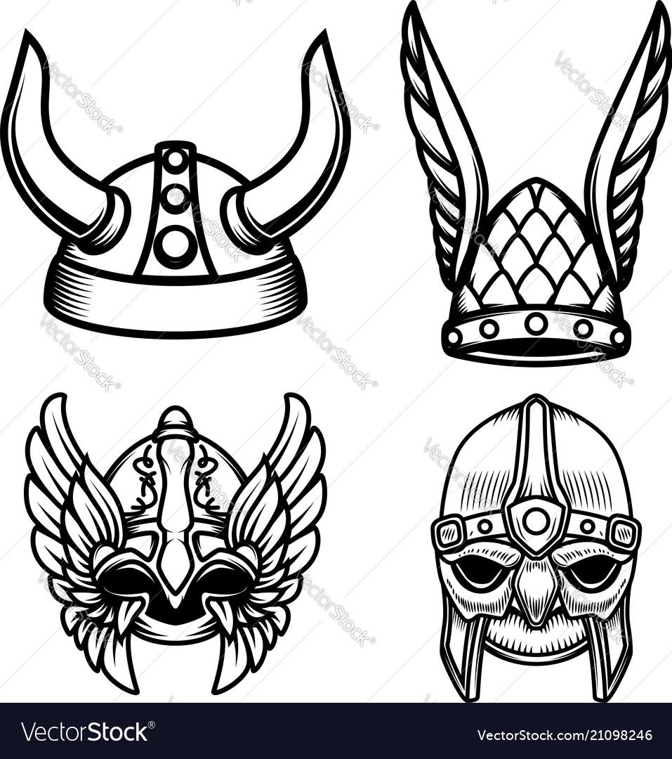 Set of viking helmets isolated on white vector image