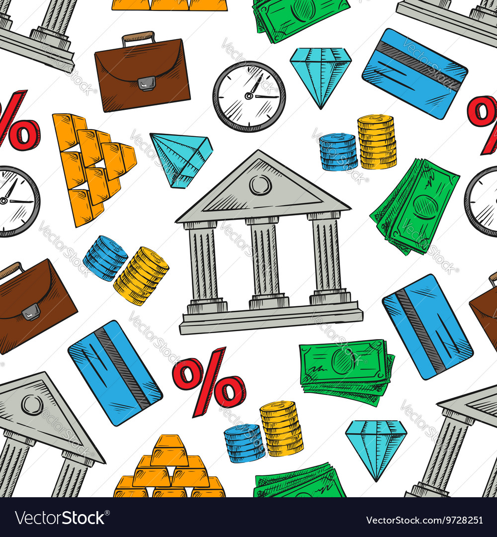 Banking and financial seamless pattern background vector image