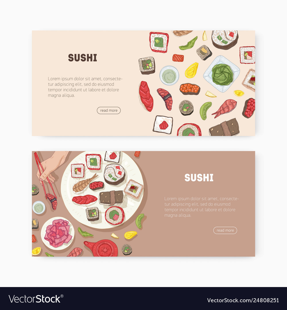 Bundle web banner templates with japanese food