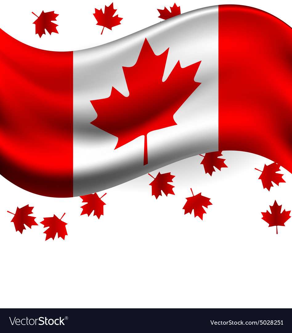 Canada flag with Maple flying for celebrate the