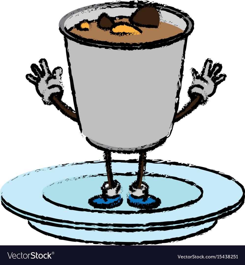 Cartoon funny soup ramen food character japanese vector image