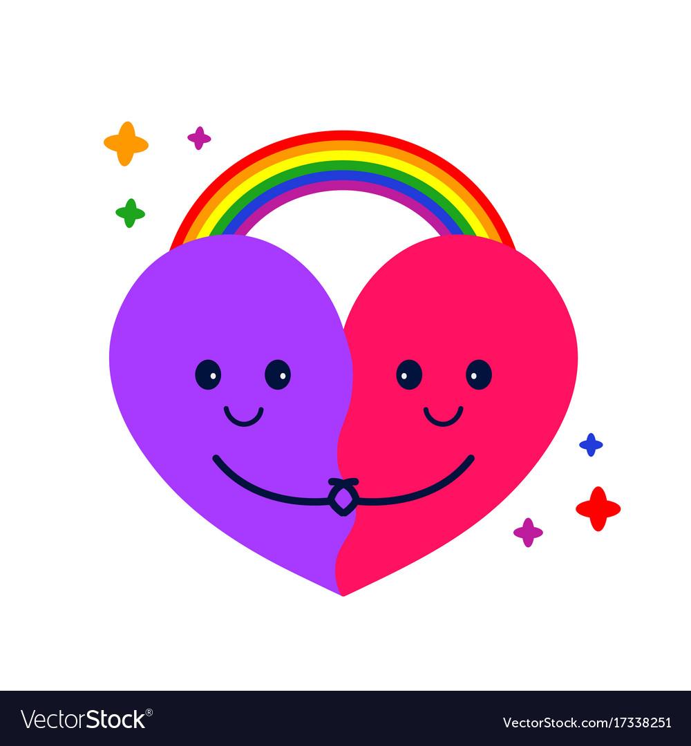 Cute heart hug and rainbow