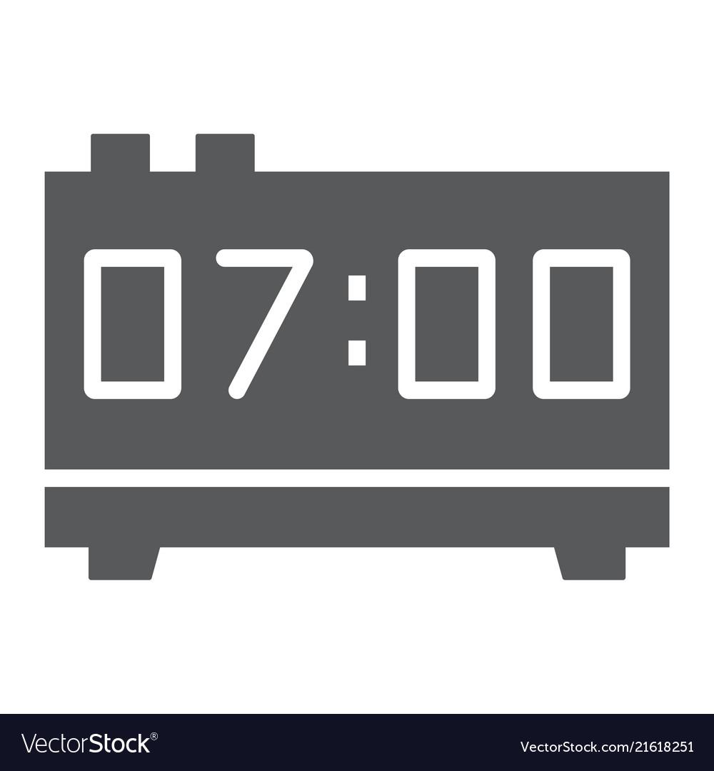 Digital clock glyph icon electronic and digital