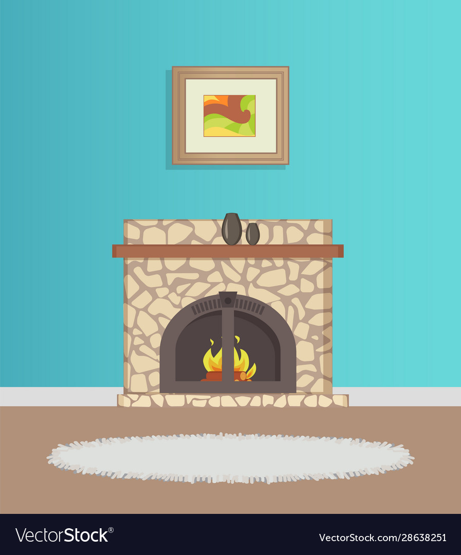 Flat with blue wallpaper and fireplace