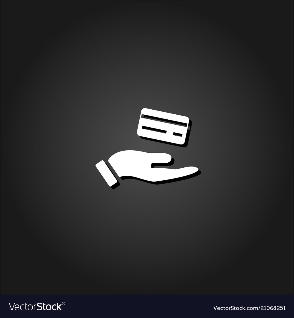 Hands and credit card icon flat