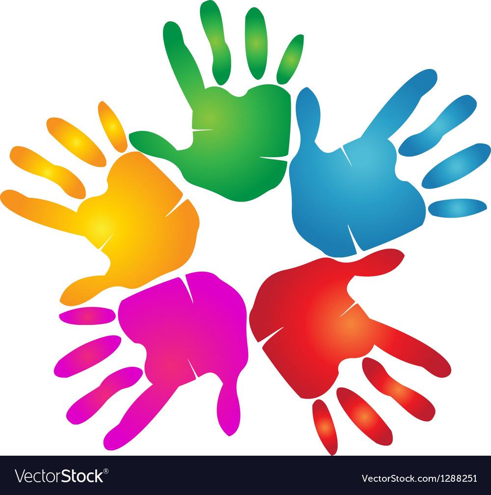 hands teamwork logo royalty free vector image vectorstock