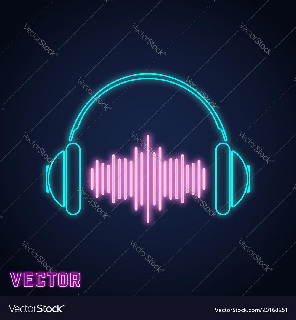 Headphone sign neon light design