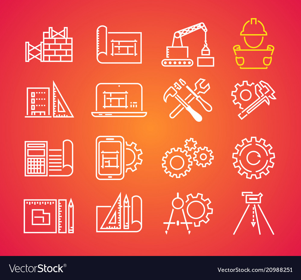 Outline web icons set - building construction and