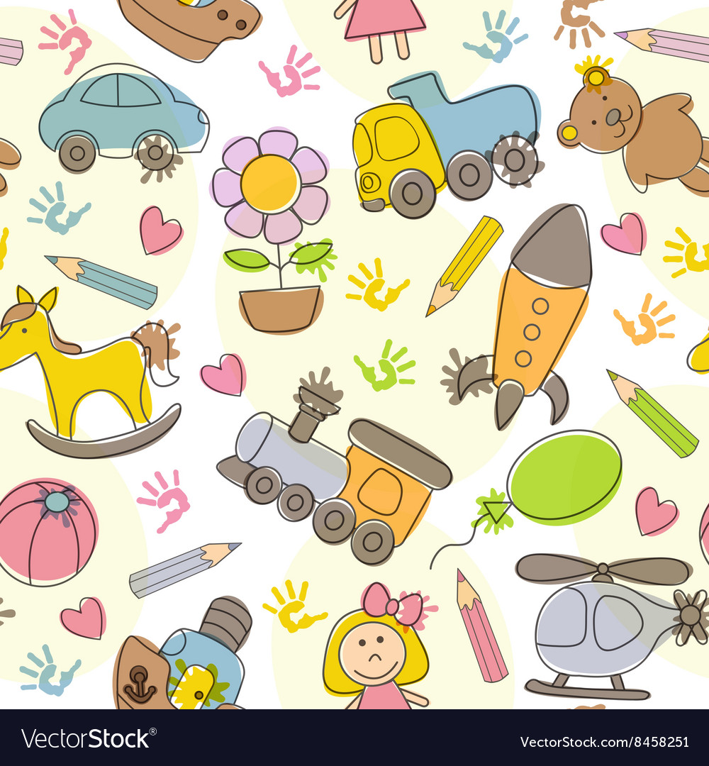 Seamless pattern with kids drawings