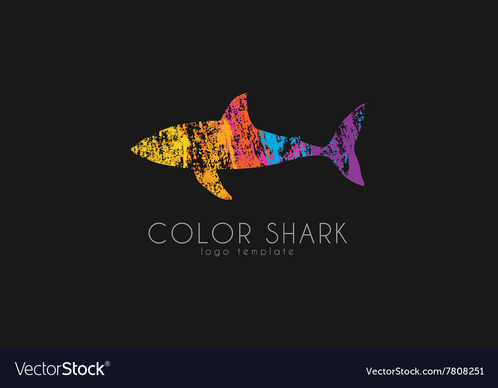 Shark logo Color shark Logo in grunge style