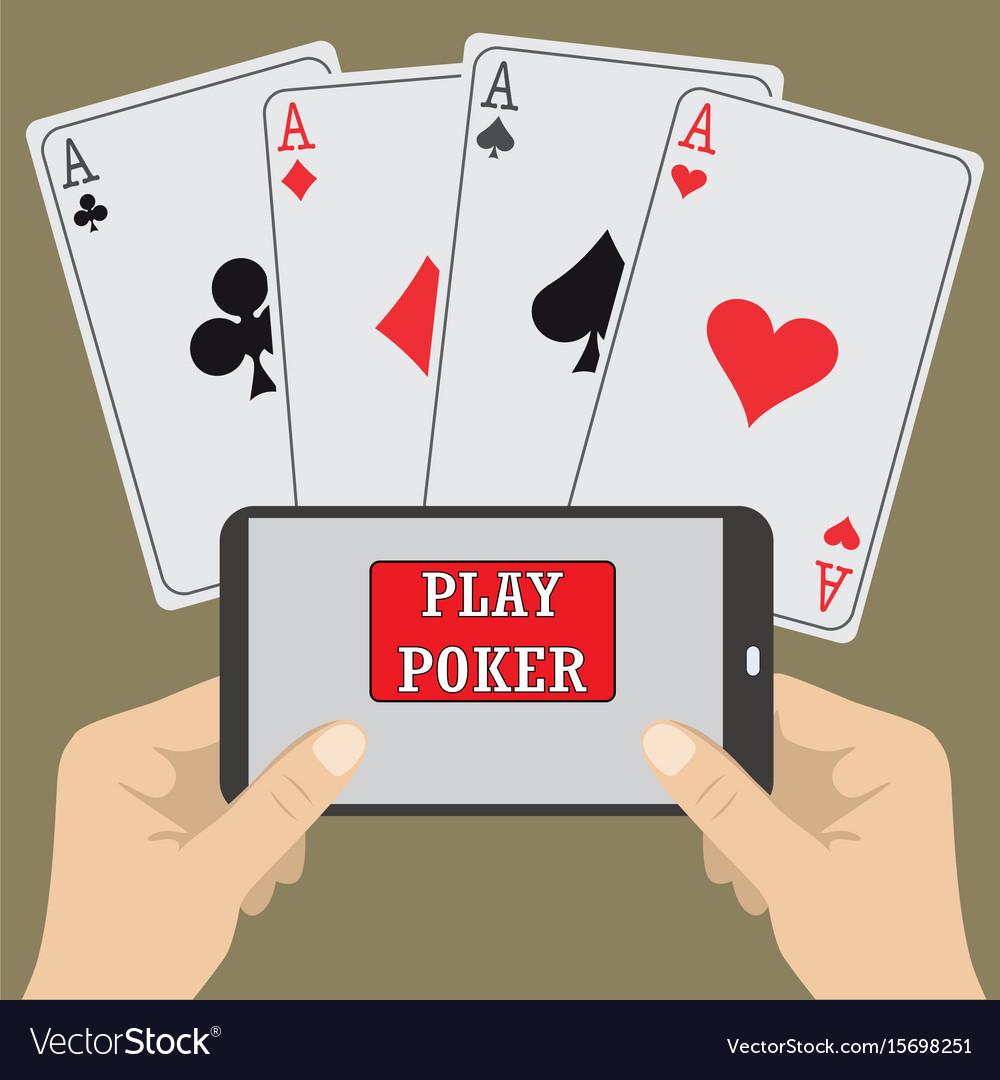 Smart phone gambling - poker aces vector image