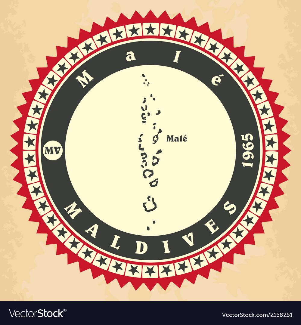 Vintage label-sticker cards of Maldives vector image