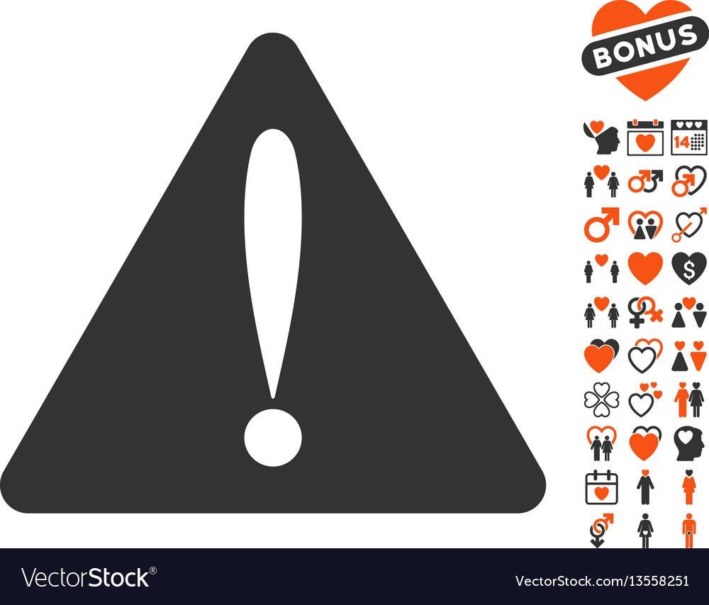 Warning error icon with dating bonus vector image