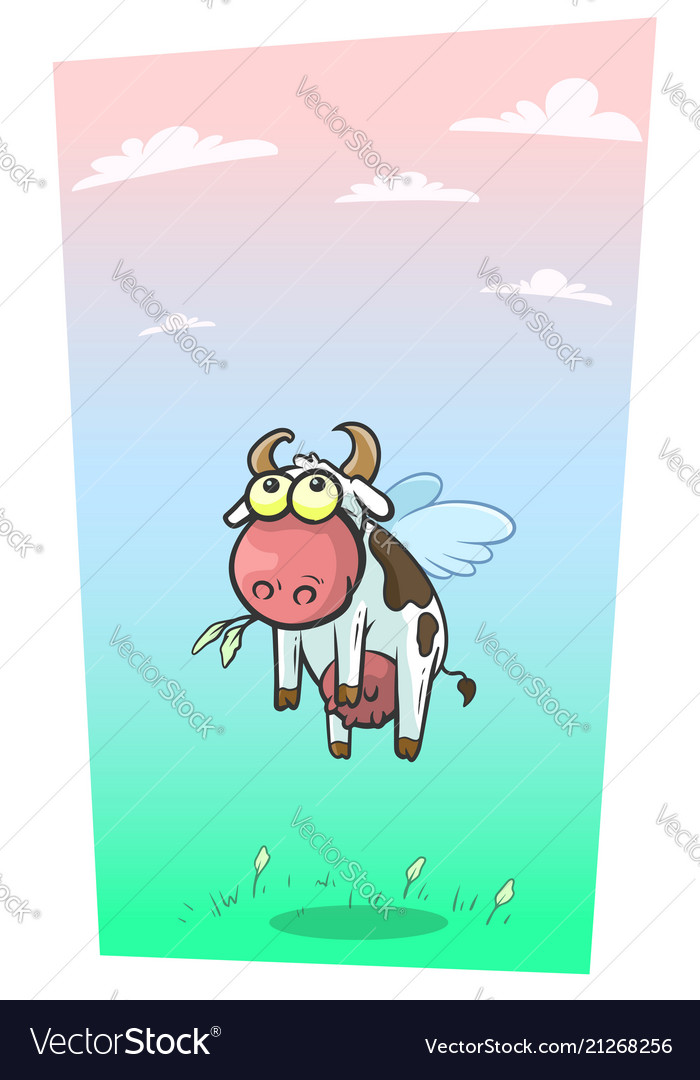 Cartoon cool flying cow with cute wings