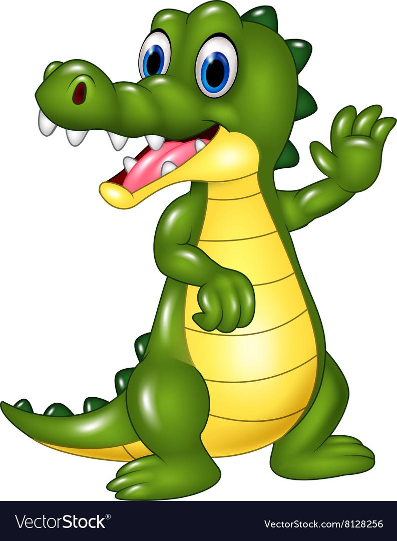 Cartoon funny crocodile waving hand isolated